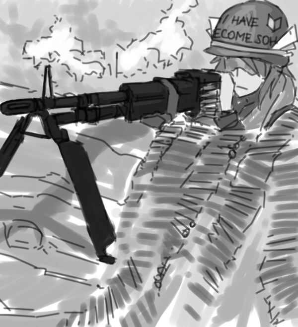 :< character_request gun helmet military monochrome panzermeido_(artist) sketch tagme trench uniform