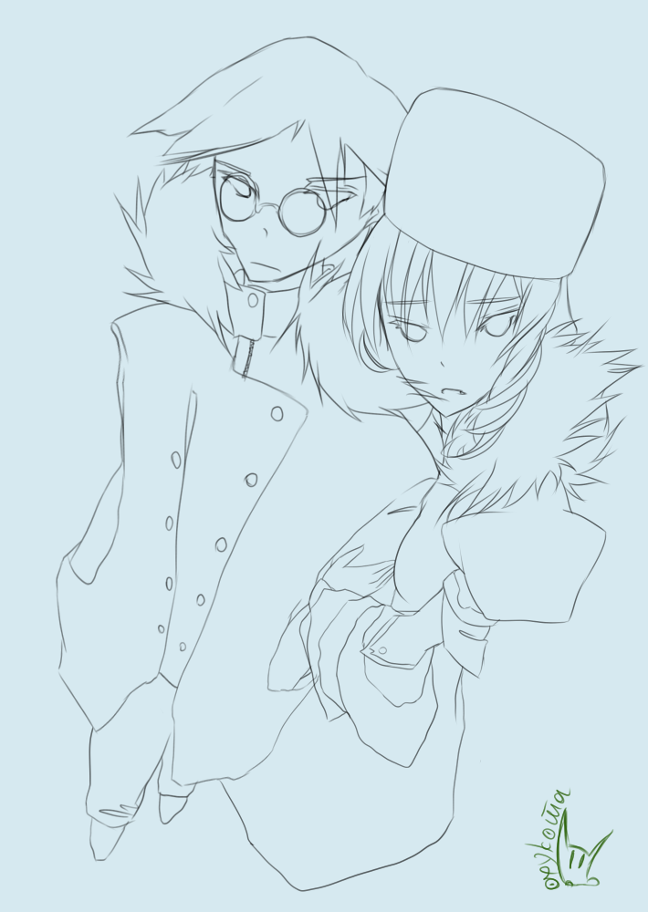 :< blonde_hair character_request coat drill_hair furry_hat holding_hands monochrome open_mouth oxykoma_(artist) russia-oneesama simple_background sketch tagme