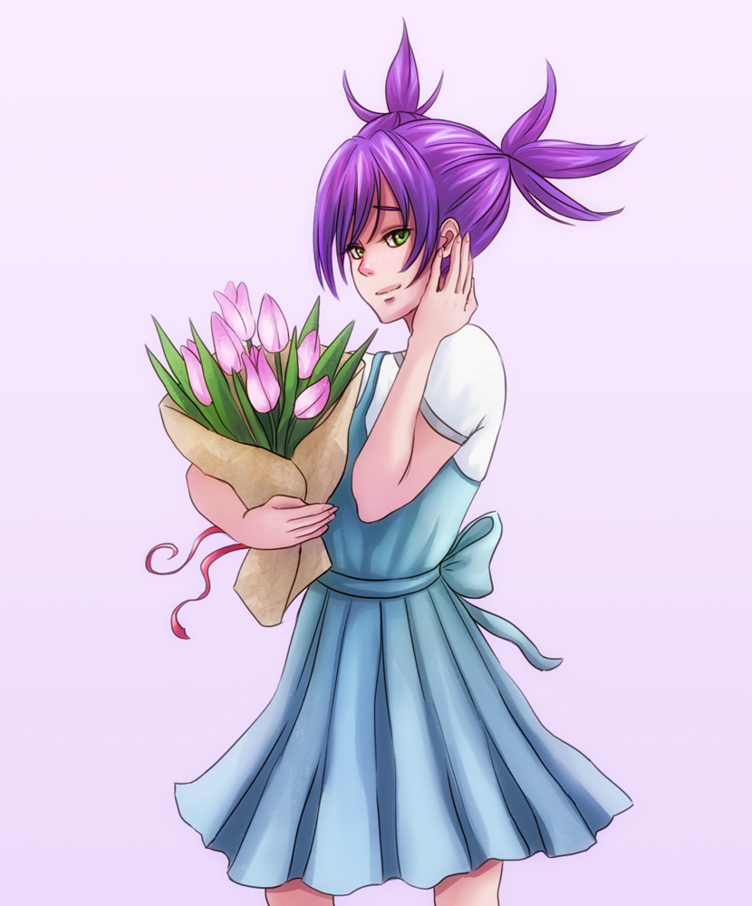 blush dress flower green_eyes nose purple_hair simple_background twintails unyl-chan