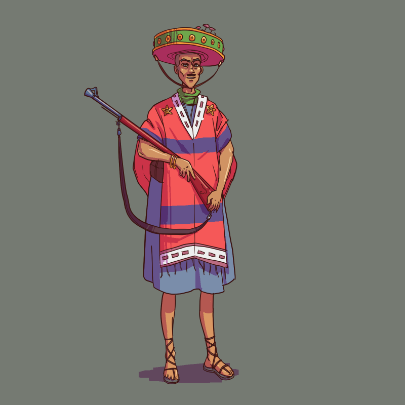 1boy character_request co2_(artist) co_(artist) grey_background gun hat male mexican mushroom mustache poncho sandals simple_background solo sombrero tagme weapon