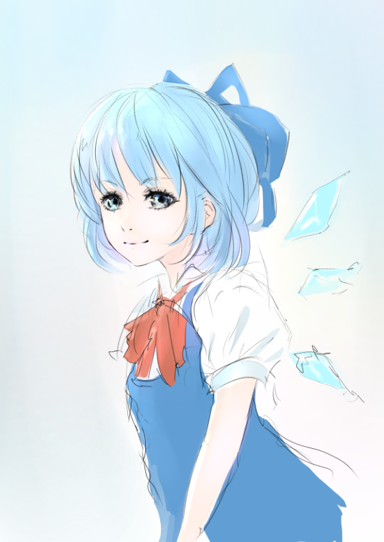 1girl blue blue_eyes blue_hair bow cirno gradient_background short_hair skirt smile wings