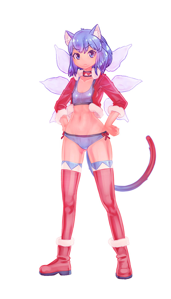 >:< :< 1girl alternate_costume animal_ears bikini blue_eyes blue_hair boots cat_ears choker cirno hands_on_hips navel new_year santa_costume short_hair simple_background solo swimsuit tail thighhighs touhou wings