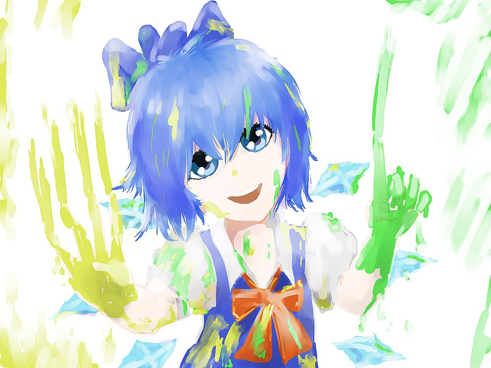 blue_eyes blue_hair bow cirno finger ice madskillz_thread_oppic paint short_hair smile wings