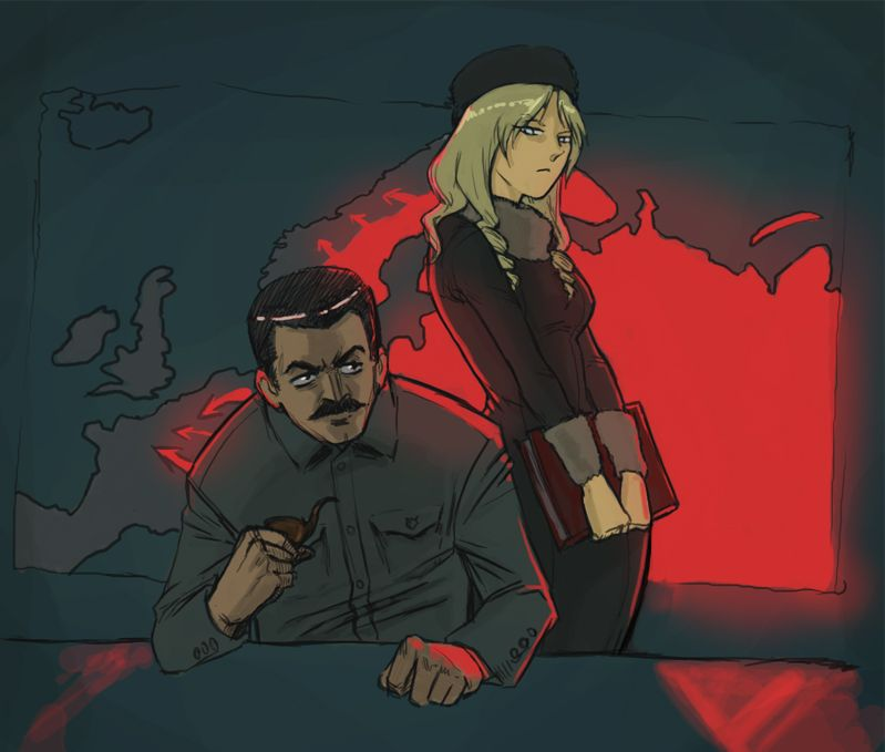 :< black_hair blonde_hair blue_eyes book colored drill_hair folder furry_hat hat male map mustache pipe russia-oneesama sitting smoke soviet stalin /tan/ v_hands winter_clothes