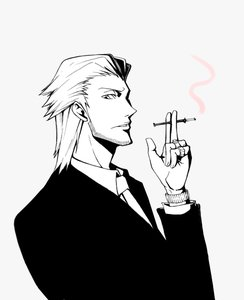 Rating: Safe Score: 0 Tags: bristle business_suit cigarette male monochrome short_hair simple_background smoking watch User: (automatic)nanodesu