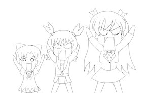 Rating: Safe Score: 0 Tags: 0_0 alternate_costume azumanga_daiou banhammer-tan blazer bow cardigan cirno highres long_hair monochrome multiple_girls necktie o/ open_mouth parody school_uniform short_hair sketch skirt touhou twintails unyl-chan User: (automatic)Willyfox