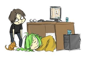 Rating: Safe Score: 0 Tags: ahoge animal bomb-chan bomb-kun bomb-kun_(artist) braid can cat chibi computer glasses green_hair imageboard long_hair lying male simple_background sleeping smile table twin_braids User: (automatic)nanodesu