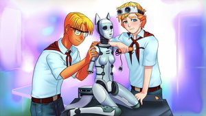 Rating: Safe Score: 0 Tags: 2boys android animal_ears blonde_hair blue_eyes cat_ears electronic-kun eroge game_cg glasses highres male mole necktie pioneer pioneer_necktie pioneer_uniform robot shirt short_hair shurik User: (automatic)Anonymous
