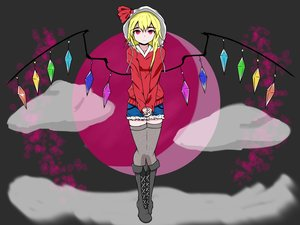 Rating: Safe Score: 0 Tags: 1girl alternate_costume blonde_hair boots cloud flandre_scarlet hood hoodie long_hair moon red_eyes shorts solo thighhighs touhou v_hands wings User: (automatic)Anonymous