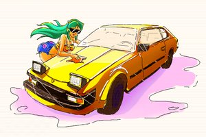 Rating: Safe Score: 0 Tags: 1girl car glasses green_hair horns idleantics_(artist) long_hair lum /o/ oekaki shorts solo sunglasses tiger_print top urusei_yatsura washing User: (automatic)nanodesu