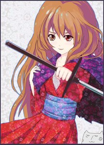 Rating: Safe Score: 0 Tags: aisaka_taiga alternate_costume arsenixc_(artist) brown_hair heterochromia japanese_clothes long_hair simple_background sword toradora! traditional_clothes weapon User: (automatic)nanodesu