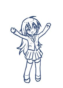 Rating: Safe Score: 0 Tags: 1girl arms_up blazer blush chibi long_hair monochrome school_uniform simple_background sketch skirt solo thighhighs zettai_ryouiki User: (automatic)Anonymous