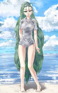 Rating: Explicit Score: 0 Tags: beach breasts cloud dreadlocks f2d_(artist) green_eyes green_hair long_hair muholovka nipples outdoors panties personification ponytail sea shirt sky t-shirt very_long_hair water wet wet_clothes User: (automatic)Anonymous