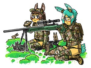 Rating: Safe Score: 0 Tags: 2girls animal_ears black_hole-chan bomb-chan bomb-kun_(artist) bunny bunny_ears bunny_tail glasses green_hair military military_uniform panties short_hair tail thighhighs weapon User: (automatic)Anonymous