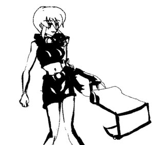 Rating: Safe Score: 0 Tags: :< belt breasts excavator_bucket excavator-chan madskillz mecha monochrome short_hair simple_background sketch top User: (automatic)Willyfox
