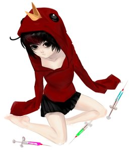Rating: Safe Score: 1 Tags: barefoot black_eyes black_hair from_above hoodie omsk om-tan personification short_hair sitting skirt syringe winged_doom User: (automatic)Anonymous