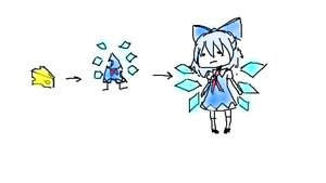 Rating: Safe Score: 1 Tags: blue_hair bow cheese cirno dress multator oekaki pun short_hair sketch too_literal touhou transformation wings User: (automatic)nanodesu