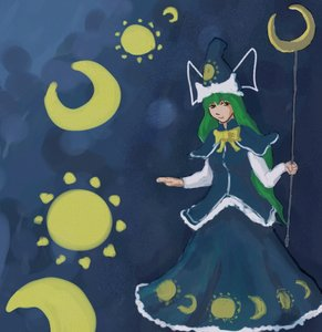 Rating: Safe Score: 0 Tags: bow green_eyes green_hair hat long_hair mima moon /to/ touhou User: (automatic)nanodesu