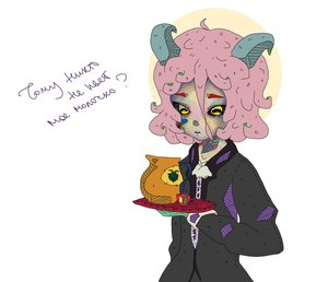 Rating: Safe Score: 0 Tags: baphometh black_sclera character_request cup goat goatman horns milk personification pink_hair source_request tagme tray yellow_eyes User: (automatic)Anonymous