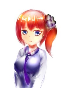 Rating: Safe Score: 0 Tags: 1girl blouse blue_blouse blue_eyes breasts hairpin medium_hair red_hair simple_background sketch smile solo white_background User: (automatic)Willyfox
