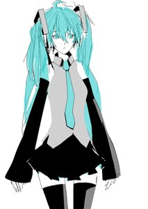 Rating: Safe Score: 0 Tags: 1girl ahoge aqua_eyes aqua_hair arsenixc_(artist) detached_sleeves hatsune_miku long_hair necktie oekaki simple_background sketch skirt solo spot_color thighhighs twintails vocaloid zettai_ryouiki User: (automatic)Anonymous
