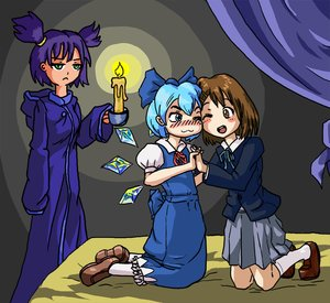 Rating: Safe Score: 0 Tags: :< 3girls bed blazer blue_eyes blush bow brown_eyes brown_hair candle cheek-to-cheek cirno ;d dress hirasawa_yui holding_hands indoors kneeling multiple_girls one_eye_closed pun purple_hair robe school_uniform shoes short_hair skirt socks too_literal touhou twintails unyl-chan wings yuri User: (automatic)Anonymous