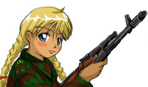 Rating: Questionable Score: 0 Tags: 2ch_logo 2ch.ru ak automatic_firearm blonde_hair blue_eyes hudozhnik-kun_(artist) military military_uniform slavya-chan twin_braids war weapon User: (automatic)June