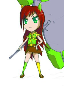 Rating: Safe Score: 0 Tags: :< banhammer banhammer-tan brown_hair chibi green_eyes hands_on_hips long_hair /o/ oekaki simple_background skirt socks wakaba_colors weapon User: (automatic)nanodesu