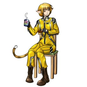 Rating: Safe Score: 0 Tags: animal_ears blonde_hair bodysuit cat_ears caterpillar-chan chair colored cup doughnut overalls sitting tail yellow_eyes User: (automatic)Anonymous