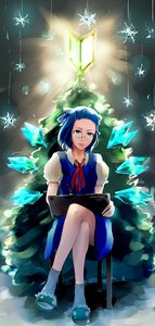 Rating: Safe Score: 0 Tags: 1girl alternate_hairstyle bangs_pinned_back blue_eyes blue_hair chair christmas_tree cirno crossed_legs dress frog glasses madskillz_thread_oppic new_year short_hair sitting slippers snowflake socks solo stylus tablet touhou tree wakaba_mark wings User: (automatic)Anonymous