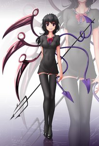 Rating: Safe Score: 0 Tags: 1girl black_hair black_legwear dress full_body hater_(artist) houjuu_nue long_hair pink_eyes smile solo standing thighhighs /to/ touhou trident weapon wings zettai_ryouiki zoom_layer User: (automatic)Anonymous