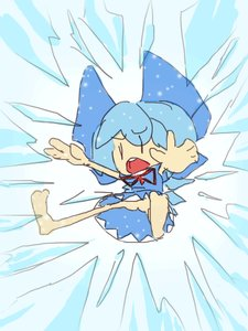 Rating: Questionable Score: 0 Tags: 1girl ass bare_legs blue_hair bow bow_necktie chibi cirno deformed flying necktie no_panties open_mouth skirt solo spread_arms spread_legs teeth User: (automatic)Willyfox