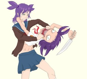 Rating: Questionable Score: 0 Tags: 2girls abomination cancer dual_persona eroge fangs fighting green_eyes knife lena necktie parody pincers pioneer pioneer_necktie pioneer_uniform purple_hair school_uniform sharp_teeth skirt socks tears teeth transparent_background unyl-chan weapon User: (automatic)Willyfox