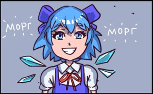 Rating: Safe Score: 0 Tags: blink blue_eyes blue_hair bow bow_necktie cirno necktie open_mouth simple_background skirt smile solo teeth text User: (automatic)Willyfox