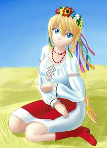 Rating: Safe Score: 0 Tags: alternative_outfit apron blonde_hair blue_eyes braid flower_wreath highres outdoors shirt slavya-chan traditional_clothes twin_braids ukraine User: (automatic)Anonymous