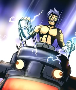 Rating: Safe Score: 0 Tags: bizarre blue_hair eyes fingerless_gloves gloves kamina lightning male mecha muscles robot spark tengen_toppa_gurren_lagann wires User: (automatic)Willyfox