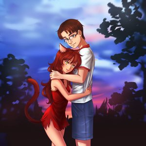 Rating: Safe Score: 0 Tags: animal_ears bow braid brown_hair cat_ears couple dress eroge glasses highres hug long_hair male orikanekoi_(artist) outdoors shirt shorts sky tail tree t-shirt uvao-chan yellow_eyes User: (automatic)Anonymous