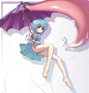 Rating: Questionable Score: 0 Tags: barefoot blue_eyes blue_hair hater_(artist) heterochromia midriff red_eyes saliva shirt short_hair skirt tatara_kogasa /to/ tongue touhou umbrella upskirt User: (automatic)Anonymous