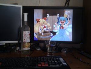 Rating: Safe Score: 0 Tags: >_< 2d_dating 2girls alcohol barrel beer blush bottle bow cirno computer dress horns ibuki_suika open_mouth photo smile teeth touhou wine User: (automatic)timewaitsfornoone