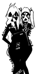 Rating: Safe Score: 0 Tags: 2girls ahoge black_hole-chan bomb-chan bomb-kun_(artist) braid faceless long_hair monochrome silhouette simple_background stylish twintails User: (automatic)nanodesu