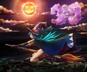 Rating: Safe Score: 0 Tags: alternate_costume blue_eyes blue_hair bow broom cirno cloak cloud elbow_gloves flying gloves halloween hat madskillz_thread_oppic outdoors pumpkin pumpkin_lantern short_hair sky touhou wings witch witch_hat User: (automatic)Anonymous