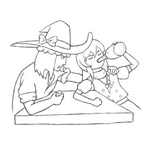 Rating: Safe Score: 1 Tags: bottle bow braid champion_of_tzeentch_(artist) drinking hat kirisame_marisa long_hair male monochrome simple_background sketch table touhou User: (automatic)nanodesu