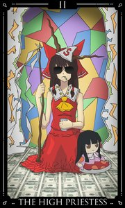 Rating: Safe Score: 0 Tags: ascot black_hair bow brown_hair cigarette glasses gohei hair_tubes hakurei_reimu horns houraisan_kaguya miko miko_outfit money sitting sunglasses tarot the_high_priestess touhou triangle_kerchief User: (automatic)Anonymous