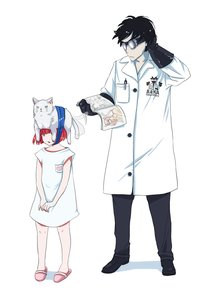 Rating: Safe Score: 0 Tags: blue_eyes cat coat glasses has_child_posts labcoat male pun red_hair science too_literal User: (automatic)Anonymous