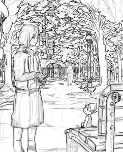 Rating: Safe Score: 0 Tags: 1girl bench building elf gloves lamppost monochrome outdoors pointy_ears sitting sketch skirt tree User: (automatic)Anonymous