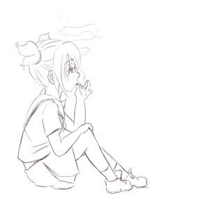 Rating: Safe Score: 0 Tags: 1girl cigarette monochrome school_uniform simple_background sitting sketch skirt smoking socks solo twintails unyl-chan User: (automatic)Anonymous