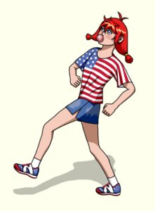 Rating: Safe Score: 0 Tags: america american_flag blue_eyes bubblegum pun red_hair shirt simple_background transparent_background t-shirt twintails ussr-tan walking User: (automatic)Anonymous