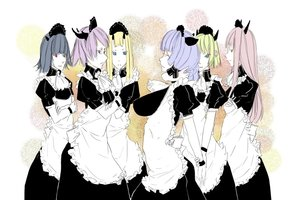 Rating: Safe Score: 0 Tags: animal_ears apron blonde_hair dress hon-hon kvaderate maid maid_headdress maid_outfit multiple_girls oxykoma_(artist) pink_hair purple_hair User: (automatic)Anonymous