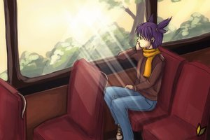 Rating: Safe Score: 2 Tags: atmospheric bus denim green_eyes mp3 outdoors purple_hair sadness scarf sneakers twintails unyl-chan wakaba_mark User: (automatic)ii
