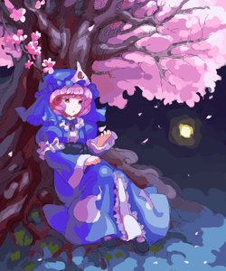 Rating: Safe Score: 0 Tags: full_moon hat moon night /o/ oekaki outdoors petals pink_hair red_eyes saigyouji_yuyuko short_hair sitting touhou tree User: (automatic)nanodesu